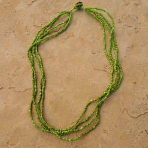 Green Beaded Multi Strand Boho Necklace